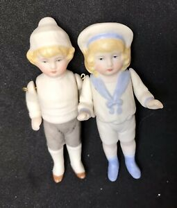 Antique 3 Inch All Porcelain Boy Hertwig Style  Reproduction dolls