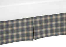 Blue Tan Rustic Woodland Plaid Flannel Sweet Jojo Boy Crib Bed Skirt Dust Ruffle