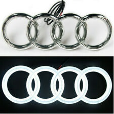 LED EMBLEM WHITE LIGHT FRONT GRILL GLOW LOGO BADGE RINGS For AUDI A3 A4 A5 A6