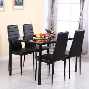 Modern All Black Tempered Glass Dining Table Metal Legs Dining Room Kitchen Home