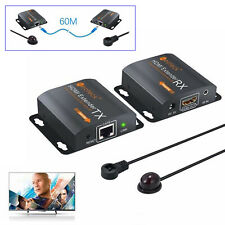 60m HDMI Extender 1080P Repeater Over Single Cat 6/7 Ethernet Cables IR Function