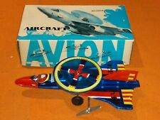 Vintage Collectible Avion Aircraft Wind-Up Tin Toy Fighter Jet