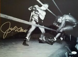 Jake LaMotta signed 12x16 photo knocking Sugar Ray Robinson out of the ring JSA