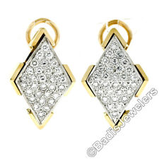14K Two Tone Gold 1.20ctw Brilliant Pave Diamond Cluster Lozenge Omega Earrings