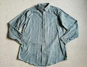 "Mens Shirt-L L BEAN-green/navy/wht plaid 100% cotton ""traditional fit"" ls-M TALL"