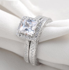 925 Silver Engagement Ring For Women's 2.10 Ct Halo Stye Princess Diamond