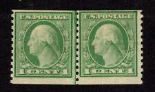 Oas-Cny 8441 Scott 452 – 1914 1c Washington, green, vertical perf 10 Mnh $160