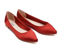 New Women's Lasura Red Silk Ballet Ballerina Pointed Toe Flat Shoes RRP £97