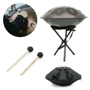 """22"""" Professional 9 Notes Handpan Hand Pan Drum DC04 Steel + Stand + Bag + Hammer"""