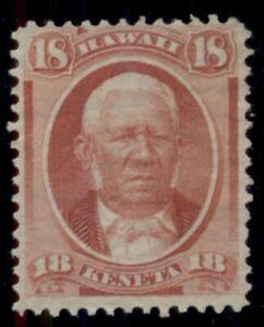 HAWAII #34 18¢ dull rose, unused no gum, fresh and F/VF, Scott $100.00