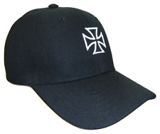 Maltese Cross Choppers Theme Adjustable Baseball Cap Caps Hat Hats Black & White