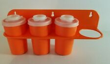 Vintage Tupperware Wall Mount Spice Rack 3 Shakers Snap Lids Orange