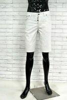 JECKERSON Bermuda Uomo Jeans Taglia 30 Pants Pantalone Corto Shorts Bianco Righe