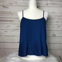 New WAYF Nordstrom Pleated Cami Top Blouse Blue Size Medium $68