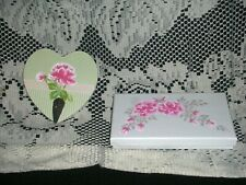 Wall Hook & Box Set ej hp pink roses shabby chic cottage hand painted pr8Bx46