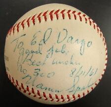1961 Warren Spahn Signed 300th Win Game Ball from Umpire Ed Vargo