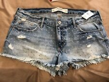 ABERCROMBIE & FITCH Womens Shorts Distressed Mini Denim Silver Polka Dots Sz 10