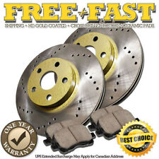 G0184 FRONT Drilled GOLD Rotors Ceramic Pads FOR 2002 2003 2004 2005 BMW 330 E46