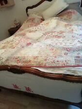 VILLARET boutis dessus de lit édredon fait main shabby ancien quilt val 270e
