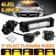 "5.5"" 6 LED Car Emergency Warning Strobe Light Bar Beacon Waterproof Amber 12/24V"