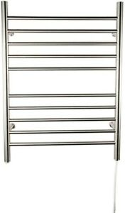 Electric Towel Warmer 24 in. W x 32 in. H 10-Bar in Polished Stainless Steel