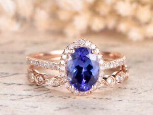 2Ct Oval Cut Blue Tanzanite Diamond Bridal Engagement Ring 14K Rose Gold Finish