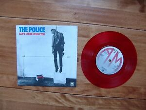 """7"""" 45 Police, The """"Can't Stand Losing You"""" A&M AMS 7381 red solid ctr A4 tone B4"""