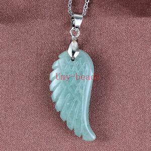 Natural Healing Crystal Quartz Lapis Lazuli Gem Angel Wing Reiki Stone Pendant