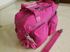 Kipling Sherpa Travel Carry-On Shoulder Luggage Tote Very Berry Pink Monkey