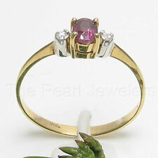 14k Yellow Solid Gold Genuine Diamonds & Oval Cut Natural Red Ruby Ring TPJ
