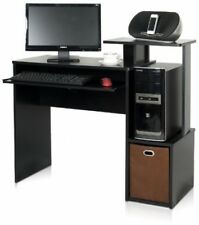 Multipurpose Desk, Computer Writing Drawer Home/Office Black/Brown Wood New