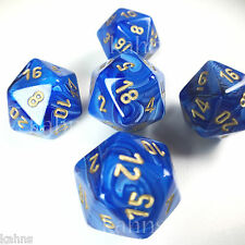 Set of 5 D20 Chessex Dice RPG D&D - Vortex Blue w/ Gold #s - 20 sided