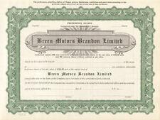Breen Motors Brandon Limited > Manitoba Canada auto stock certificate