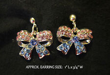 Crystal Bow Earrings Pink & Blue Ribbon Handmade Silver Post Stud