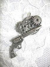 STEAMPUNK PISTOL / REVOLVER / GUN w GEARS USA PEWTER PENDANT ADJ CORD NECKLACE
