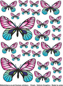 26 pink blue butterfly stickers car laptop home