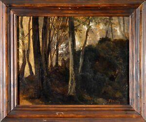 """Tableau ancien, huile XIX ème.""""Sous bois - Forêt de Fontainebleau."""""""