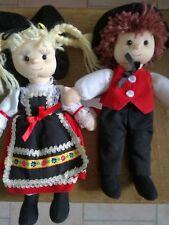 2 poupées TISSU Alsacienne CP INTERNATIONAL traditionnel 27 cm TBE