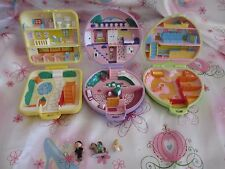 VINTAGE LOT OF 3 BLUEBIRD POLLY POCKET COMPACTS + 3 FIGURES....NURSERY, PONY++