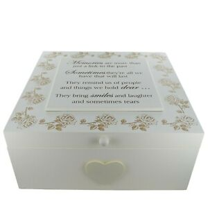 Ex Large Wooden Memory Box Keepsake Chest Bereavement Wooden Cream Roses  F1652