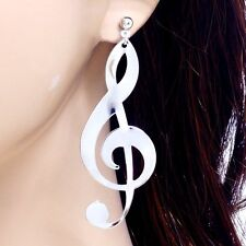 "#E121N 2.6"" PIERCED Stud EARRINGS Big Large Treble Clef Music Note Shiny Dangle"