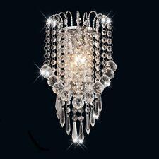 Crystal Wall Sconce Light Fixture Modern Chrome Lamp Vanity Hallway Steel Glass