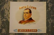 Irvin S Cobb Original Unused Vintage Embossed Inner Cigar Box Label Collectable