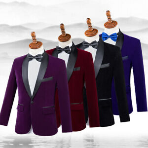 Men Shawl Collar Blazer Pants 2Pcs Suit Chorus Performance Clothing Photo Studio