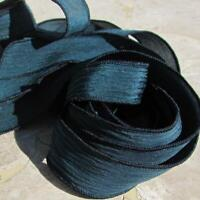 MIDNIGHT Silk Ribbons Hand Dyed Qty 5 JamnGlass, Dark Blue Green Aqua Strings