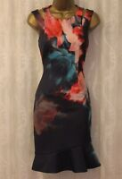 Karen Millen Floral Print Scuba Shoulder Flare Hem Cocktail Party Dress UK 8 10