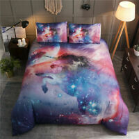 Multi-color Unicorn Galaxy Comforter Sets Animal Print Quilt Kids Bedding Queen