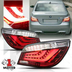 Red/Clear *Tron LED Bar* Neon Tail Light Brake Lamp for 08-10 BMW E60 5-Series