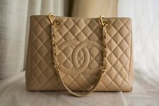 VERIFIED Authentic Chanel Beige Caviar Leather GST Grand Shopping Tote Bag GHW