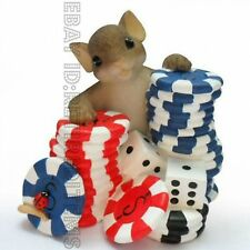 """I'm Betting On You"" CHARMING TAILS Poker Chips Figurine Leaf & Acorn mice tales"